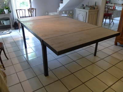 Table carr e industriel - Table industrielle rallonge ...